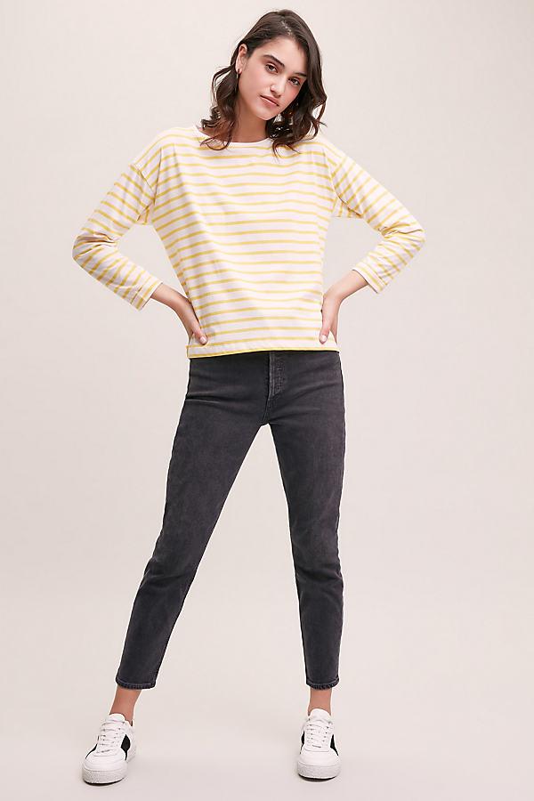 Breton Striped Tee - Yellow, Size Uk 14