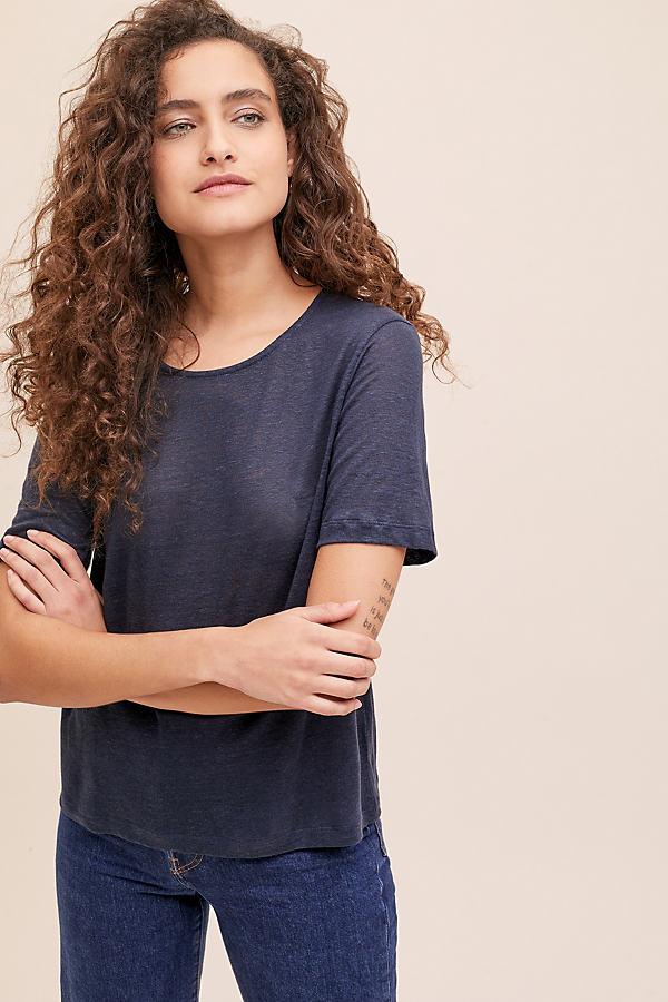 Quina Linen T-Shirt - Blue, Size Uk 8