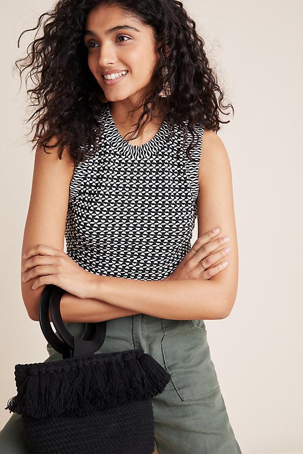 Barbara Jacquard Knit Top - Black, Size Xl