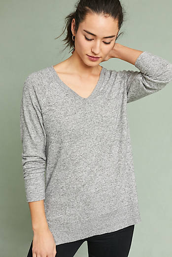 Brushed Fleece V-Neck Pullover
