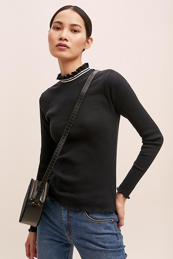 Arina Striped High-Neck Top - Black, Size L