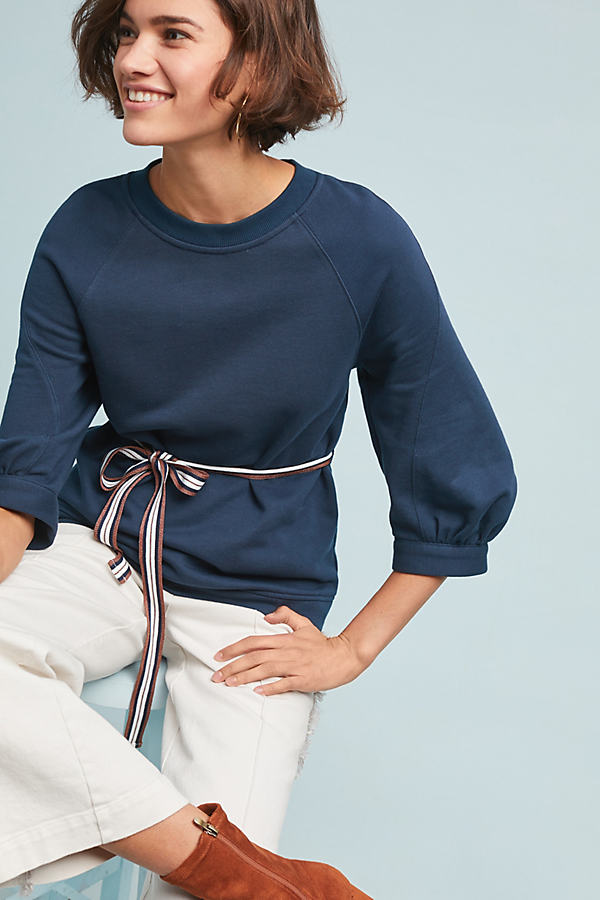 Elle Belted Sweatshirt - Blue, Size M