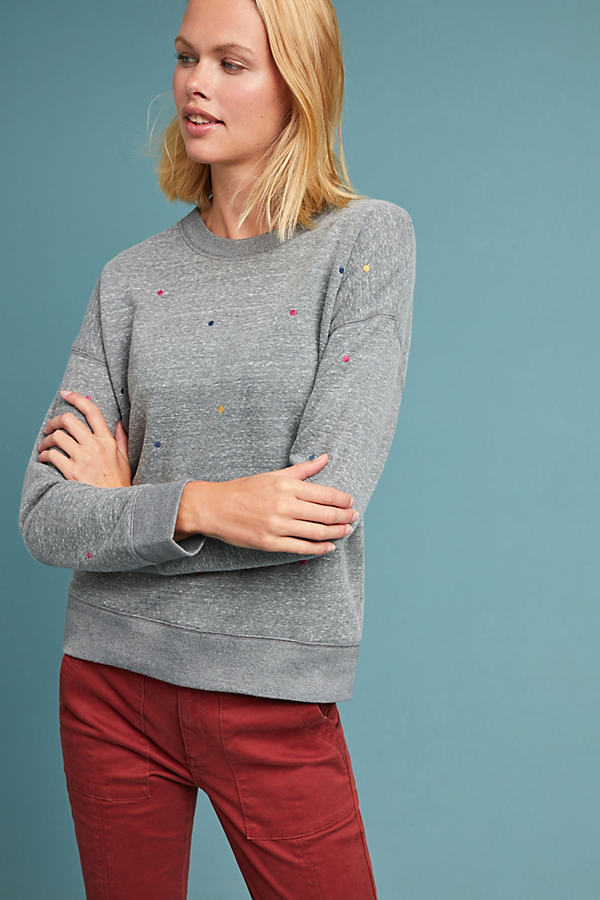 Embroidered Polka Dot Sweatshirt - Grey, Size Xs