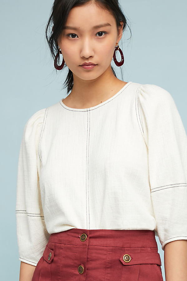 Karnes Structured Top - White, Size S
