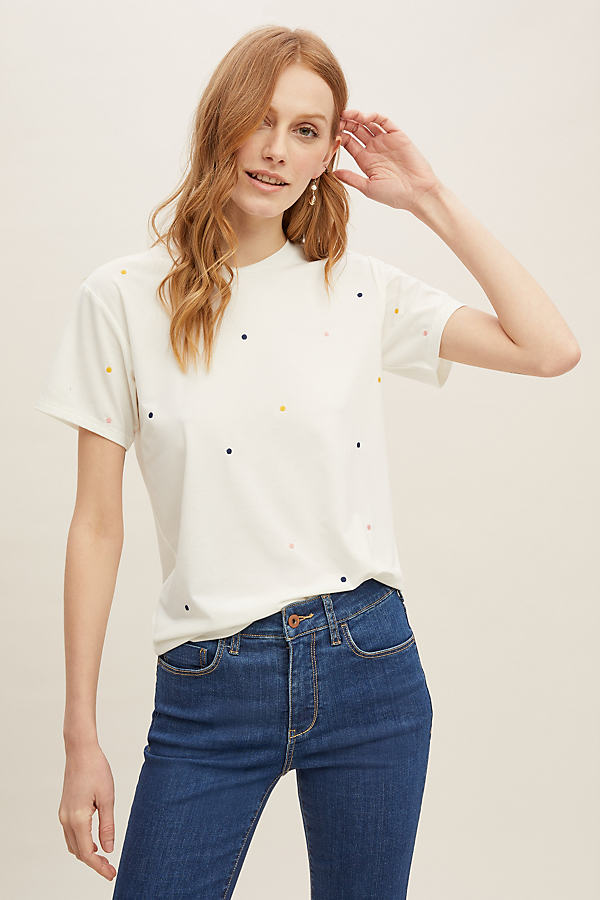 Britta Embroidered Tee - White, Size S