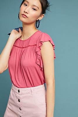 Slide View: 1: Stephanie Flutter-Sleeve Top