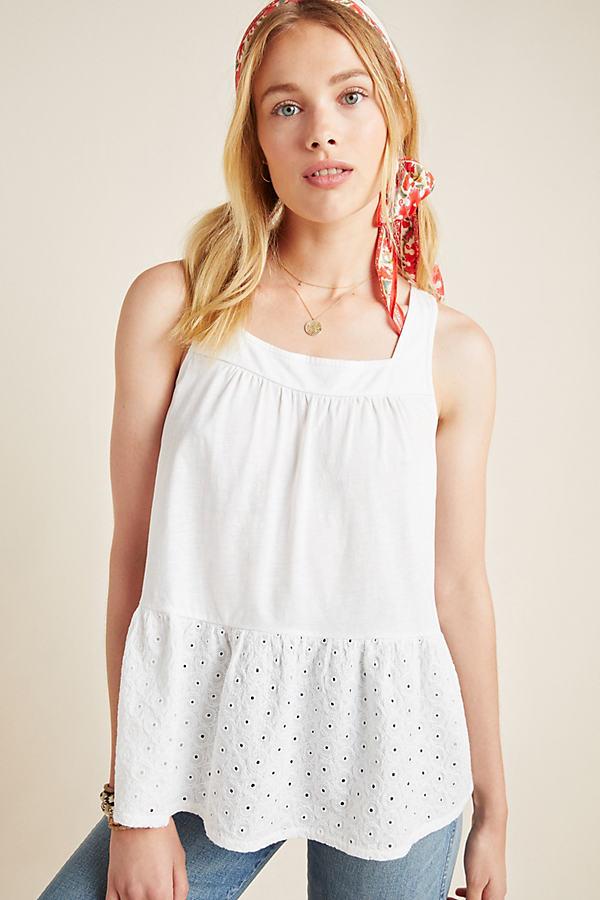 Zinnia Eyelet Babydoll Top - White, Size Xs