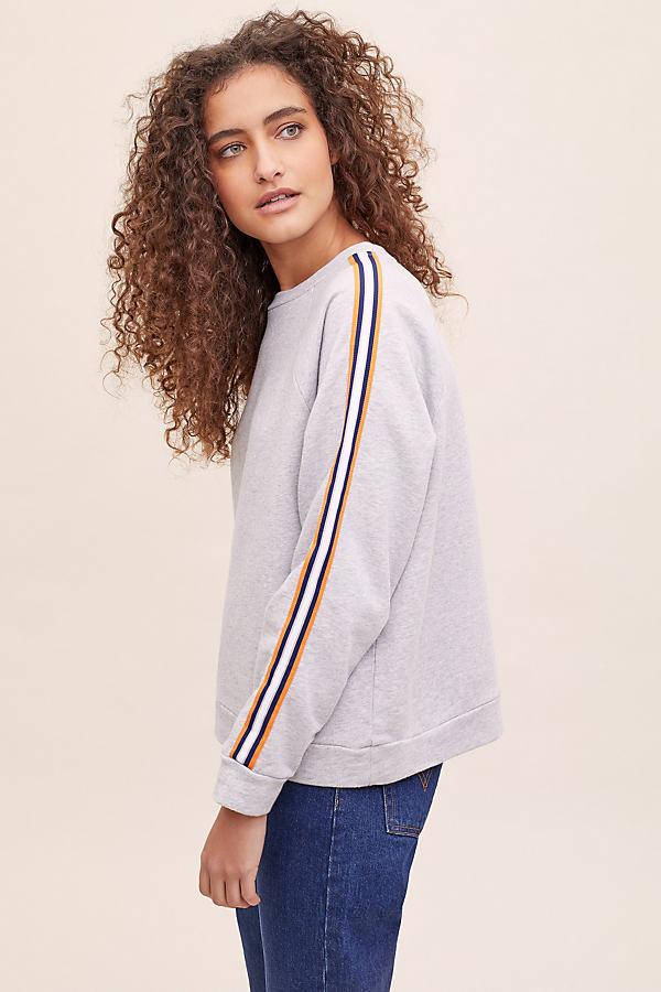 Adina Striped-Sleeve Sweatshirt - Grey, Size Uk 6