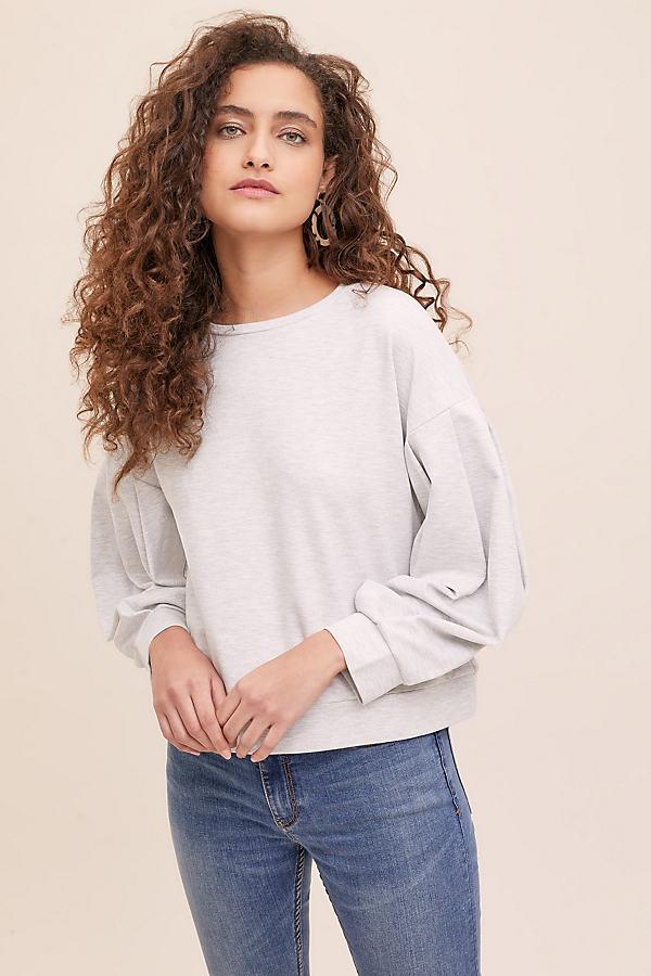 Leonnie Balloon-Sleeve Sweatshirt - Grey, Size Uk 6
