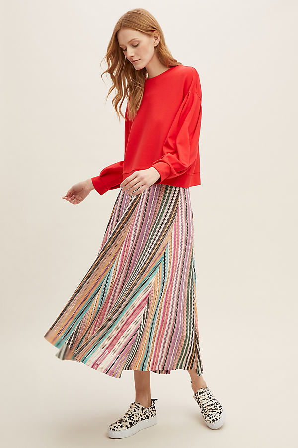 Leonnie Balloon-Sleeve Sweatshirt - Red, Size Uk 14