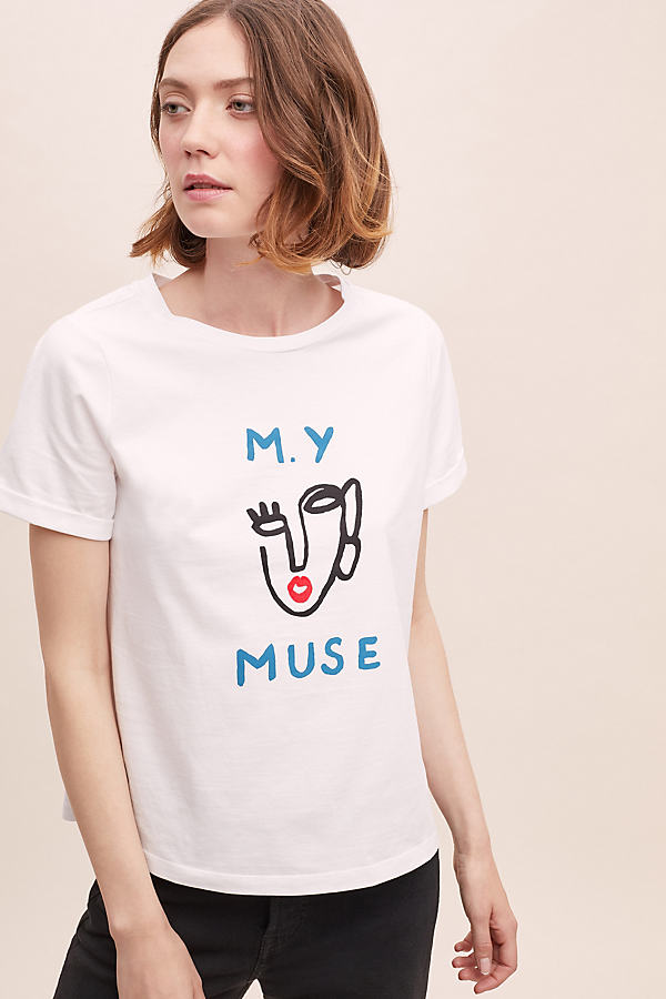 My Muse Graphic Tee - White, Size Uk 12