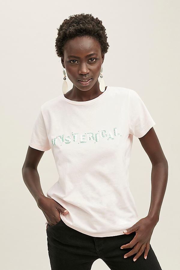 Future Female Hysterical-Print Organic-Cotton Tee - Pink, Size Uk 8