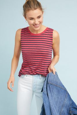 Michael Stars   Michael Stars Striped Tank  -    RASPBERRY