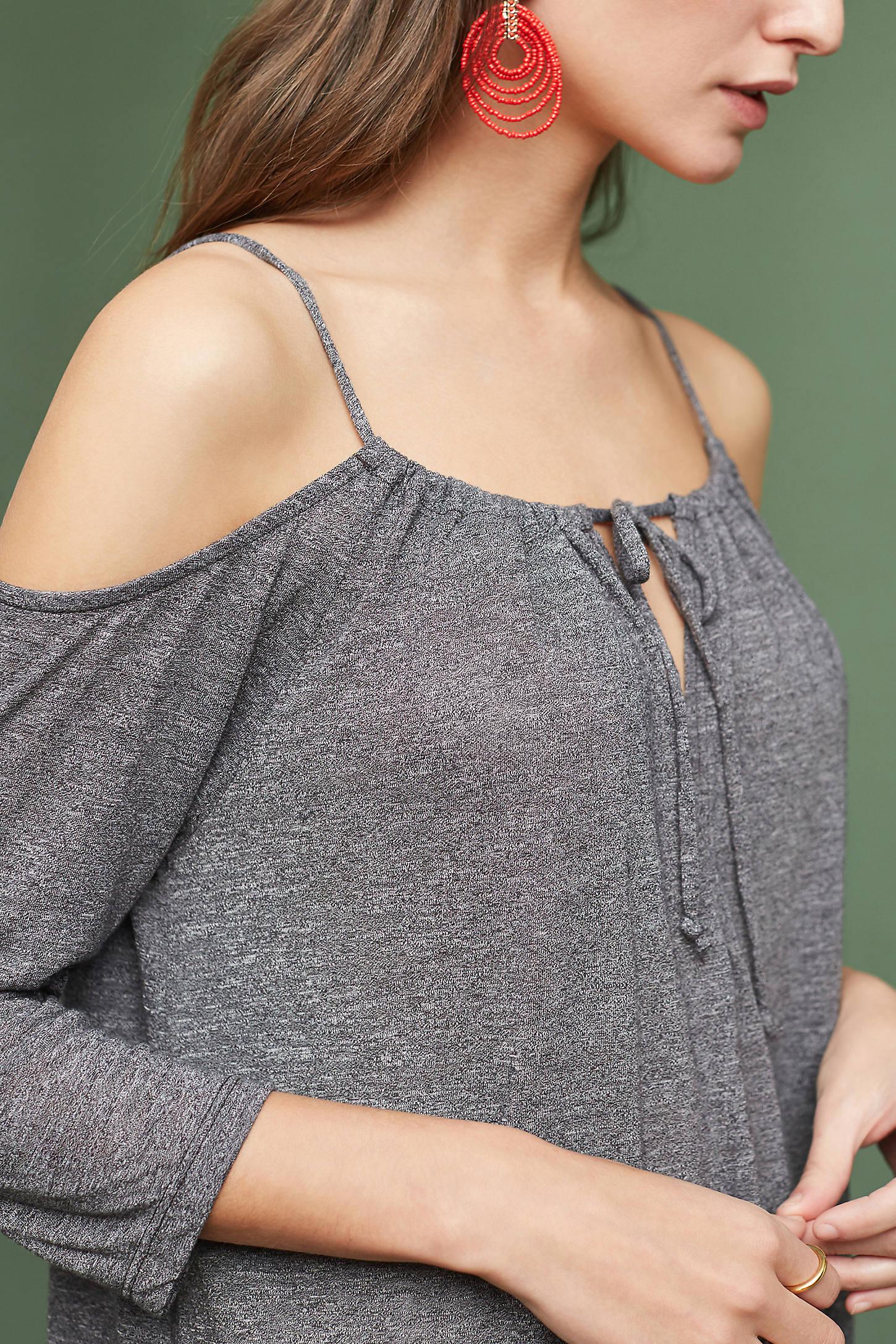 Draped Open-Shoulder Top