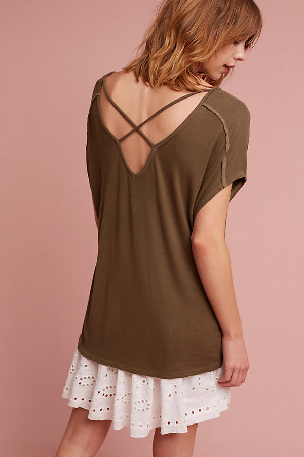 Slide View: 5: Michael Stars Crossed-Back V-Neck Top