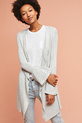 Slide View: 1: Bell-Sleeve Waterfall Cardigan