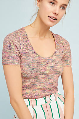 Slide View: 1: Ribbed Sweater Tee