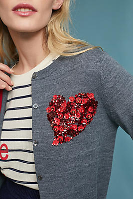 Slide View: 1: Sequin Heart Cardigan