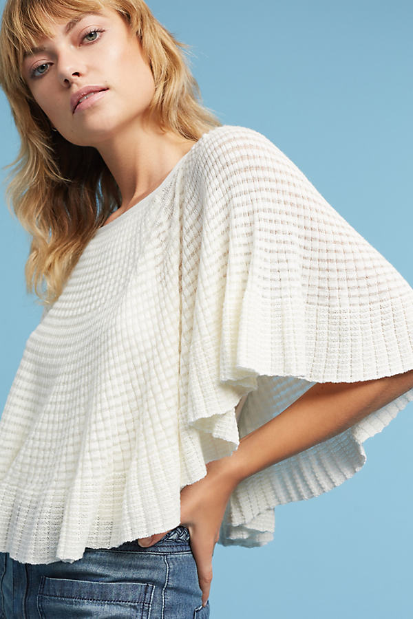 Miah Pointelle Stitched Poncho, Ivory - Ivory, Size Xl