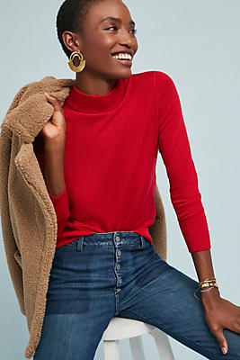 Slide View: 1: Audrey Mock Neck Knit Pullover