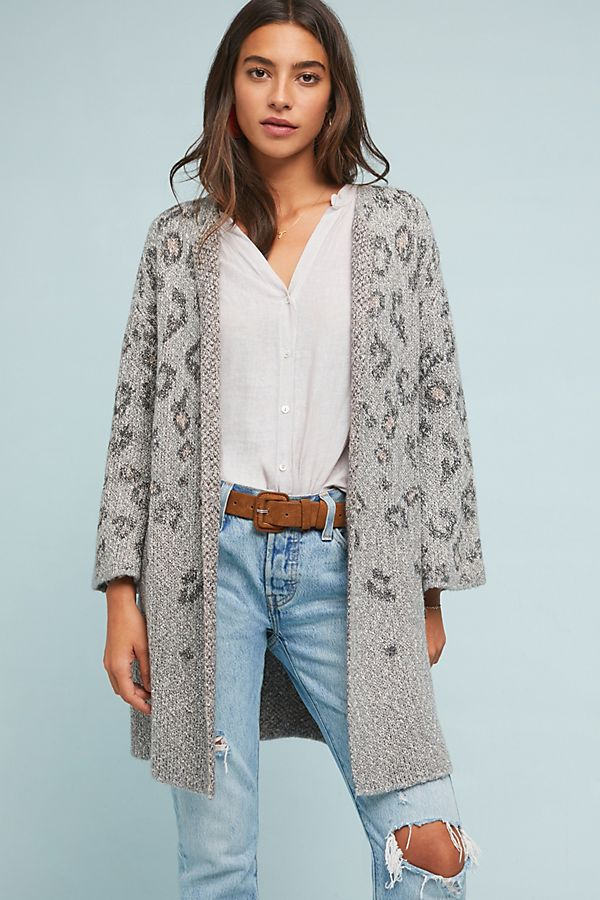 Leopard Intarsia Cardigan | Anthropologie