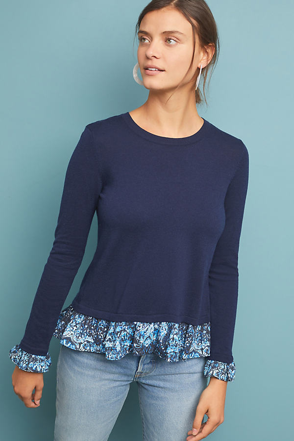 Kachel Mixed-Media Sweater - Blue, Size Uk 16