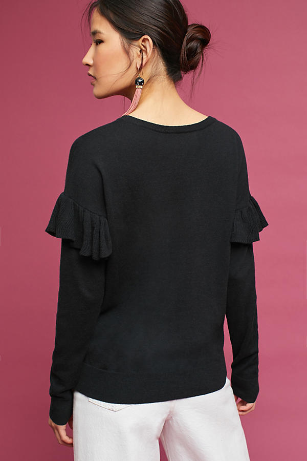 Slide View: 4: Ruffled V-Neck Pullover