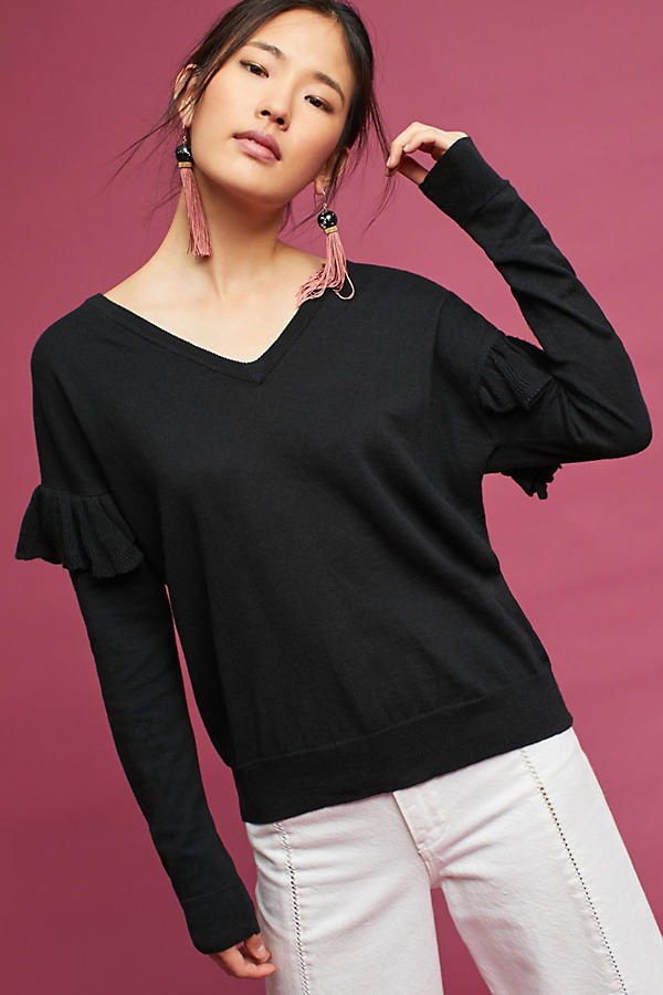 Slide View: 1: Ruffled V-Neck Pullover