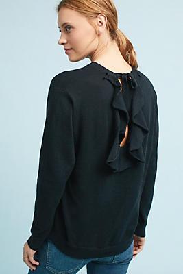 Slide View: 1: Ruffled Open-Back Pullover