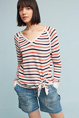 Slide View: 1: Knotted & Striped Pullover