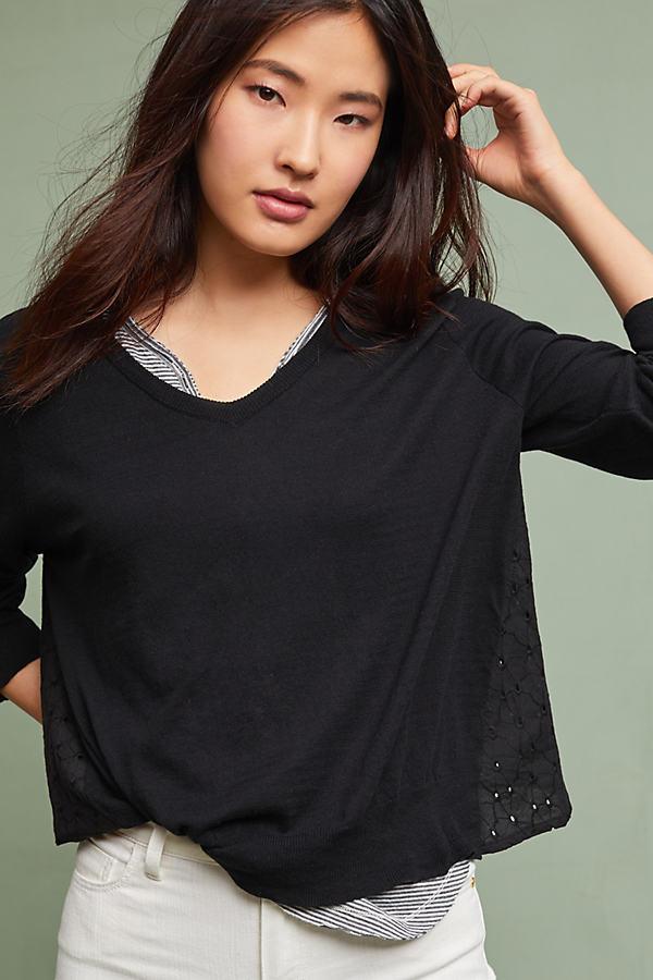 Ramona Eyelet Cardigan, Black - Black, Size Xs