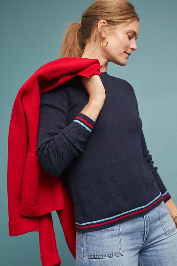 Saddlebrook Striped Wool and Cashmere-Blend Jumper - Blue, Size S