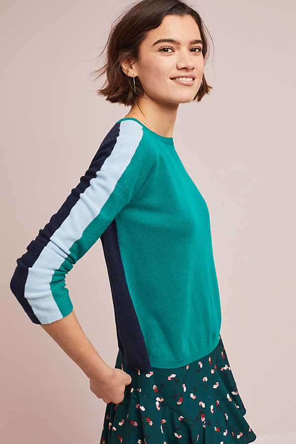 Gabriella Two-Tone Cashmere Jumper - Green, Size Xl