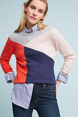Slide View: 1: Geometric Cashmere Pullover