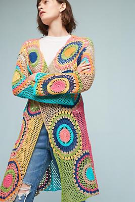 Slide View: 1: Crocheted Dot Cardigan