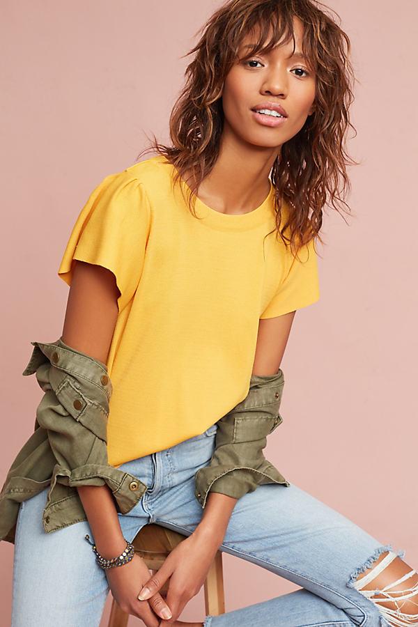 Mahlia Ruffled Top, Yellow - Gold, Size Xs