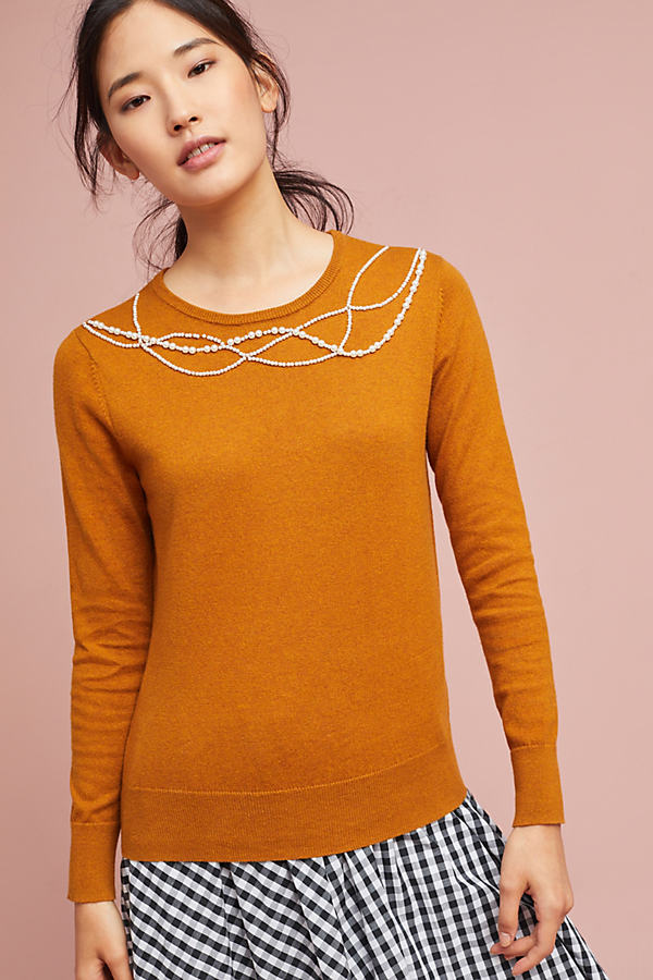 Ishana Pearl-Collar Jumper - Honey, Size Xl