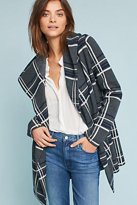 Slide View: 2: Glencoe Plaid Sweater Coat