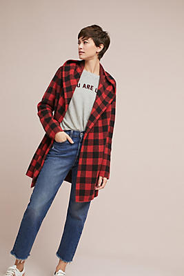 Slide View: 1: Buffalo Plaid Cardigan Coat