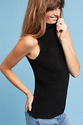 Slide View: 1: Sleeveless Turtleneck Pullover