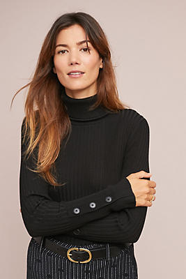 Slide View: 3: Button-Sleeved Turtleneck