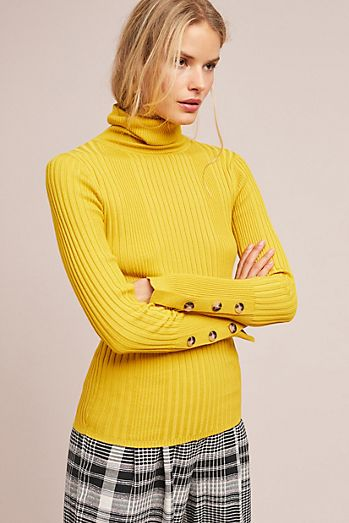 Button-Sleeved Turtleneck