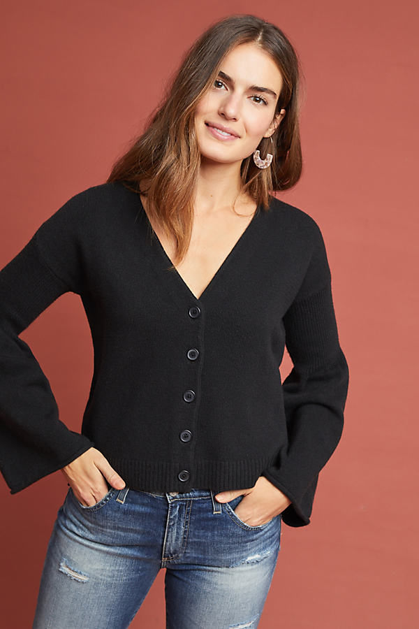 Bell-Sleeved Cardigan - Black, Size L