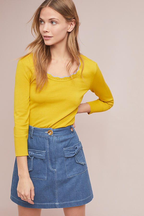 Scalloped Sweater - Yellow, Size M