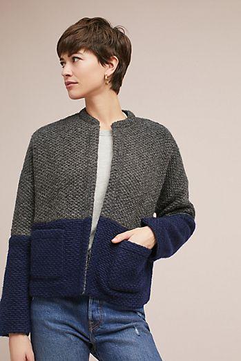 Colorblocked Wool Cardigan