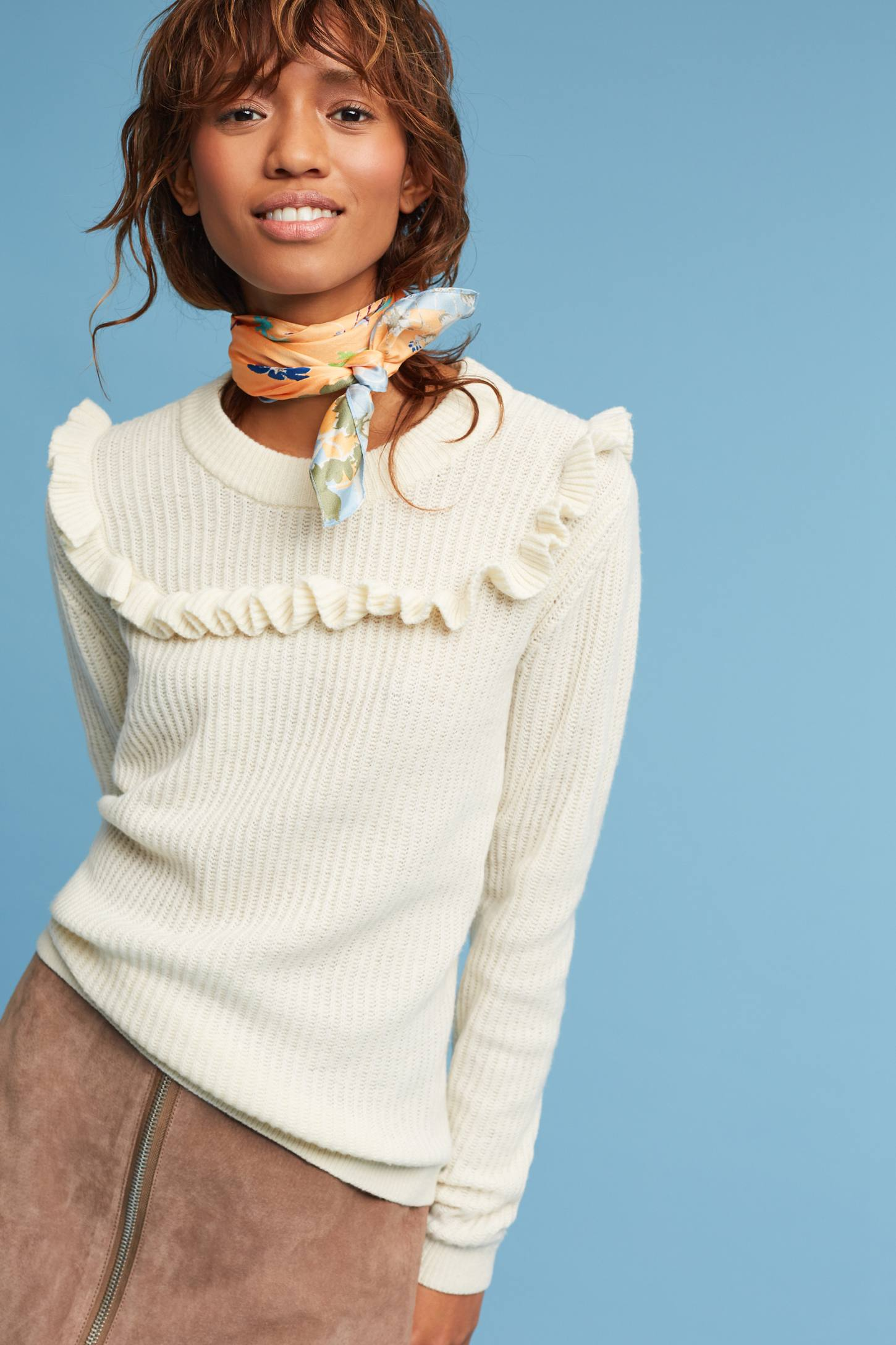 Slide View: 1: Tamara Ruffled Pullover