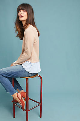 Slide View: 2: Boat Neck Peplum Pullover