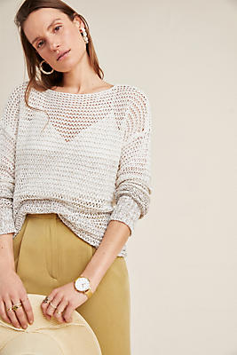 Slide View: 1: Ombre Open-Knit Pullover