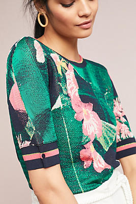 Slide View: 1: Palm Tree Intarsia Pullover