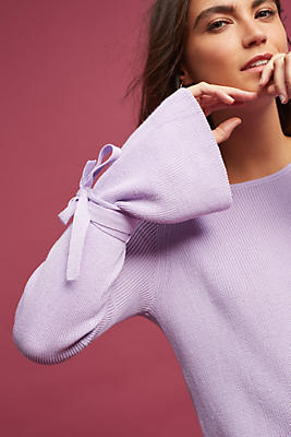 Slide View: 1: Fluted-Sleeve Pullover